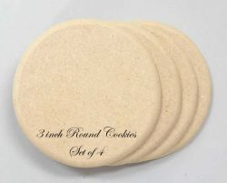 "Round 3"" Cookie Shape Set of 4"