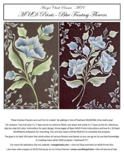 MUD Prints Kit Blue Fantasy Flowers